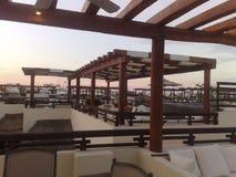 Mexico playa del carmen. Hotel evening mansard roof Stock Photos