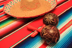 Mexico poncho sombrero maracas background fiesta cinco de mayo decoration bunting Stock Photography
