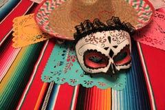 Mexico poncho sombrero skull background fiesta cinco de mayo. Decoration bunting flag royalty free stock photos