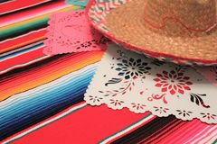 Mexico poncho sombrero skull background fiesta cinco de mayo decoration bunting Royalty Free Stock Photography