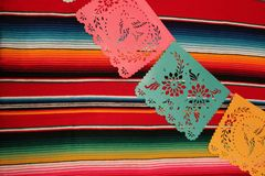 Mexico poncho sombrero skull background fiesta cinco de mayo decoration bunting Stock Photos