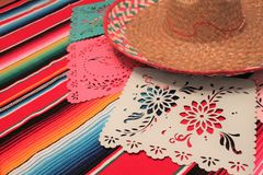Mexico poncho sombrero skull background fiesta cinco de mayo decoration bunting. Flags Stock Image