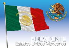 Mexico, presidential flag and coat of arms, Estados Unidos Mexicanos Imágenes de archivo libres de regalías