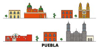 Mexico, Puebla flat landmarks vector illustration. Mexico, Puebla line city with famous travel sights, skyline, design. Mexico, Puebla flat landmarks vector vector illustration