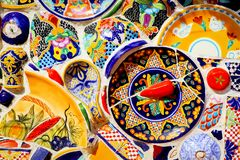 Mexico, Queretaro City - January 2, 2019: Traditional Mexican ceramics in the souvenir shop.  royalty free stock photography