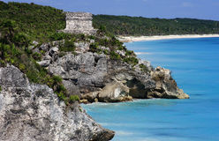 Mexico Quintana Roo Tulum Mayan ruins. Fort overlooking the Caribbean Sea Stock Photo