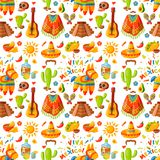 Mexico seamless pattern background vector illustration traditional graphic travel tequila alcohol fiesta drink ethnicity. Mexico seamless pattern background Royalty Free Stock Photo