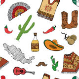 Mexico seamless pattern doodle elements, Hand drawn sketch mexican traditional sombrero hat, boots, poncho, cactus and tequila bot. Tle, map of mexico, music Royalty Free Stock Photo