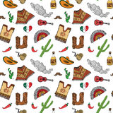 Mexico seamless pattern doodle elements, Hand drawn sketch mexican traditional sombrero hat, boots, poncho, cactus and tequila bot. Tle, map of mexico, music Stock Images