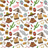 Mexico seamless pattern doodle elements, Hand drawn sketch mexican traditional sombrero hat, boots, poncho, cactus and tequila bot Stock Photography