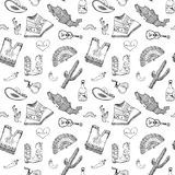 Mexico seamless pattern doodle elements, Hand drawn sketch mexican traditional sombrero hat, boots, poncho, cactus and tequila bot. Tle, map of mexico, music Royalty Free Stock Photography
