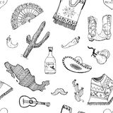 Mexico seamless pattern doodle elements, Hand drawn sketch mexican traditional sombrero hat, boots, poncho, cactus and tequila bot. Tle, map of mexico, music Royalty Free Stock Photos