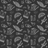 Mexico seamless pattern doodle elements, Hand drawn sketch mexican traditional sombrero hat, boots, poncho, cactus and tequila bot Stock Images