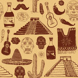 Mexico seamless pattern doodle elements, Hand drawn sketch mexican traditional sombrero hat, poncho, cactus and tequila bottle, ma Stock Images