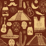 Mexico seamless pattern doodle elements, Hand drawn sketch mexican traditional sombrero hat, poncho, cactus and tequila bottle, ma Royalty Free Stock Photos