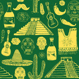 Mexico seamless pattern doodle elements, Hand drawn sketch mexican traditional sombrero hat, poncho, cactus and tequila bottle, ma Stock Photos
