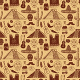 Mexico seamless pattern doodle elements, Hand drawn sketch mexican traditional sombrero hat, poncho, cactus and tequila bottle, vector illustration