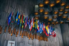 MEXICO - SEPTEMBER 20: Country flags at Basilica of our Lady Guadalupe stock image