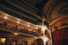 MEXICO - SEPTEMBER 24: Ornamented balcony and main stage of Juarez Theater, 2017 in Guanajuato, Mexico. MEXICO - SEPTEMBER 24: Ornamented balcony and main stage royalty free stock photo