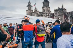 MEXICO - SEPTEMBER 20: People volunteering at a collection center to gather provisions and supplies for the earthquake victims. September 20, 2017 in Mexico royalty free stock photography
