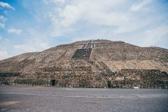 MEXICO - SEPTEMBER 21: Pyramid of the Sun on a cloudy day with blue sky. September 21, 2017 in Teotihuacan, Mexico Stock Photo