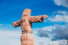 MEXICO - SEPTEMBER 22: Statue of Jesus Christ on top of the mountain heavily damaged by the earthquake, September 22, 2017 in Tax. Co, Mexico royalty free stock photo