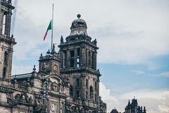 MEXICO - SEPTEMBER 20: Tower of the Metropolitan cathedral of Mexico at the Zocalo Square stock photo