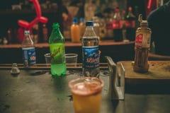 MEXICO - SEPTEMBER 24: Verschillend die dranken en poeder bij a worden gebruikt stock afbeelding