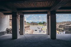MEXICO - SEPTEMBER 21: View of the main courtyard from inside an ancient Aztec palace. September 21, 2017 in Teotihuacan, Mexico Royalty Free Stock Photos