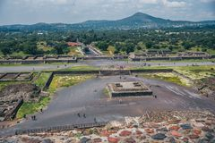 MEXICO - SEPTEMBER 21: View of Teotihuacan from the lower levels of the Pyramid of the Sun. September 21, 2017 in Teotihuacan, Mexico Stock Images