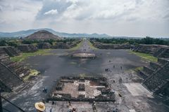 MEXICO - SEPTEMBER 21: View of Teotihuacan from the Pyramid of the moon. September 21, 2017 in Teotihuacan, Mexico Royalty Free Stock Photos