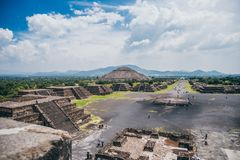MEXICO - SEPTEMBER 21: View of Teotihuacan from the Pyramid of the moon. September 21, 2017 in Teotihuacan, Mexico Royalty Free Stock Photo
