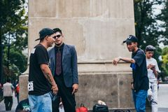 MEXICO - SEPTEMBER 20: Young men having a rap battle at the Beethoven Plaza in downtown while a crowd of people is watching. And listening,  September 20, 2017 Royalty Free Stock Photos