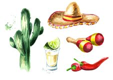 Mexico Set. Cactus, sombrero hat, maracas, chili pepper, glass of tequila with lime and salt. Hand drawn watercolor illustration,. Isolated on white background royalty free illustration
