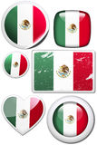 Mexico - Set of stickers and buttons. Glossy and colorful stickers with reflection set Stock Photos