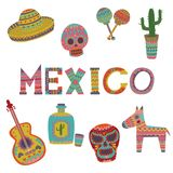 Mexico set, symbols of Mexican culture cartoon vector Illustrations. On a white background Royalty Free Stock Photos