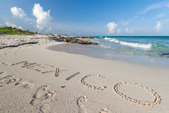 Mexico sign on the sand. Of Caribbean beach Royalty Free Stock Images