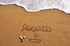 Mexico sign in the sand. Beach Royalty Free Stock Images
