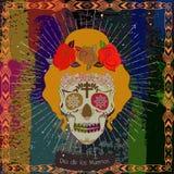 Mexico skull girl card. Stock Photos