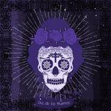 Mexico skull girl card. Stock Photography