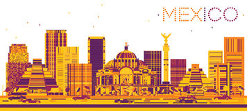 Mexico Skyline with Color Buildings. Vector Illustration. Business Travel and Tourism Concept with Modern Architecture. Image for Presentation and Banner Royalty Free Stock Photography