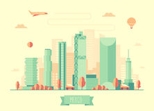 Mexico skyline vector illustration flat design Stock Photo