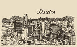 Mexico skyline vintage engraved vector Sketch Royalty Free Stock Image