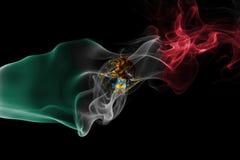 Mexico national smoke flag. Mexico smoke flag isolated on a black background royalty free stock photo
