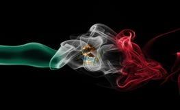 Mexico national smoke flag. Mexico smoke flag isolated on a black background royalty free stock image