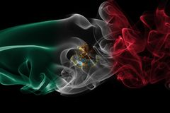 Mexico national smoke flag. Mexico smoke flag isolated on a black background Royalty Free Stock Image