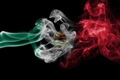 Mexico national smoke flag. Mexico smoke flag isolated on a black background royalty free stock photography
