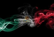 Mexico national smoke flag. Mexico smoke flag isolated on a black background royalty free stock images