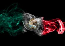 Mexico national smoke flag. Mexico smoke flag isolated on a black background Stock Photography