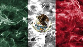 Mexico smoke flag. Isolated on a black background Royalty Free Stock Image